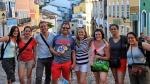Prof. Luciano Tosta poses with students who participated in a faculty-led study abroad program to Salvador, Bahia